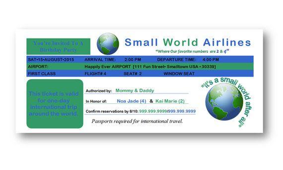 Plane Ticket Invitation Birthday Graduation By Jademariemnd So