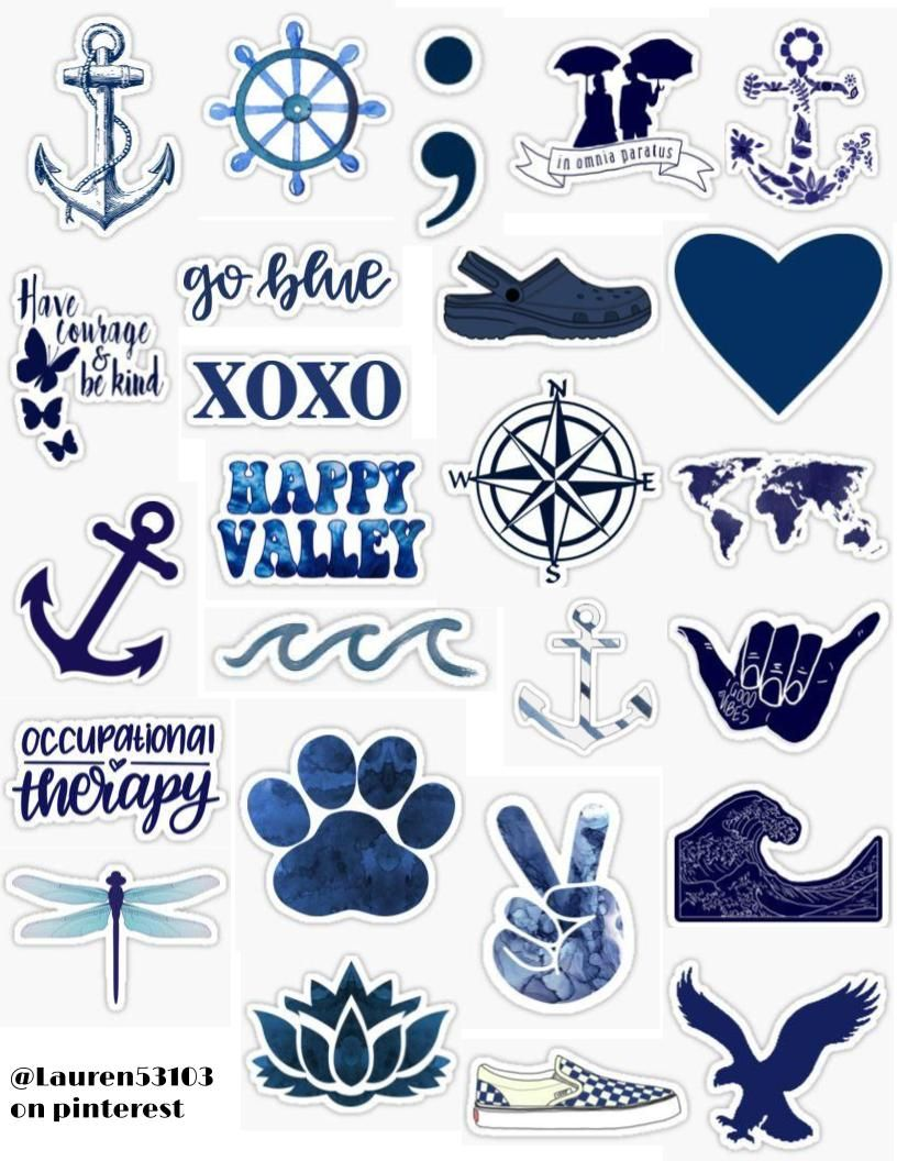 Navy Blue Sticker Pack Iphone Case Stickers Print Stickers Aesthetic Stickers