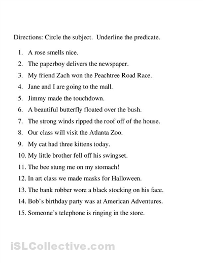 Identifying subject and predicate worksheet | Teaching Resources ...