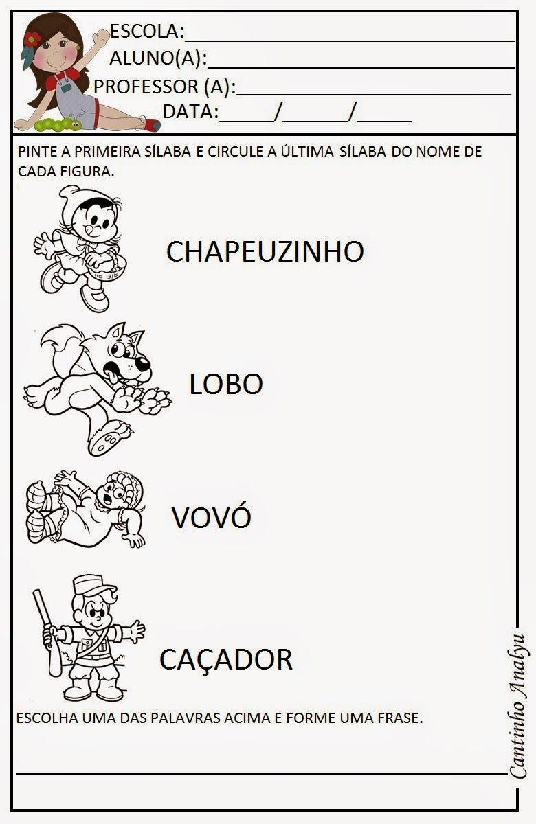 Cantinho Analyu Chapeuzinho Vermelho Atividades Chapeuzinho