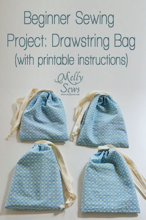 Easy Beginner Sewing Projects: Drawsting Bag with printable instructions. Super easy and cute! Bianca@itti
