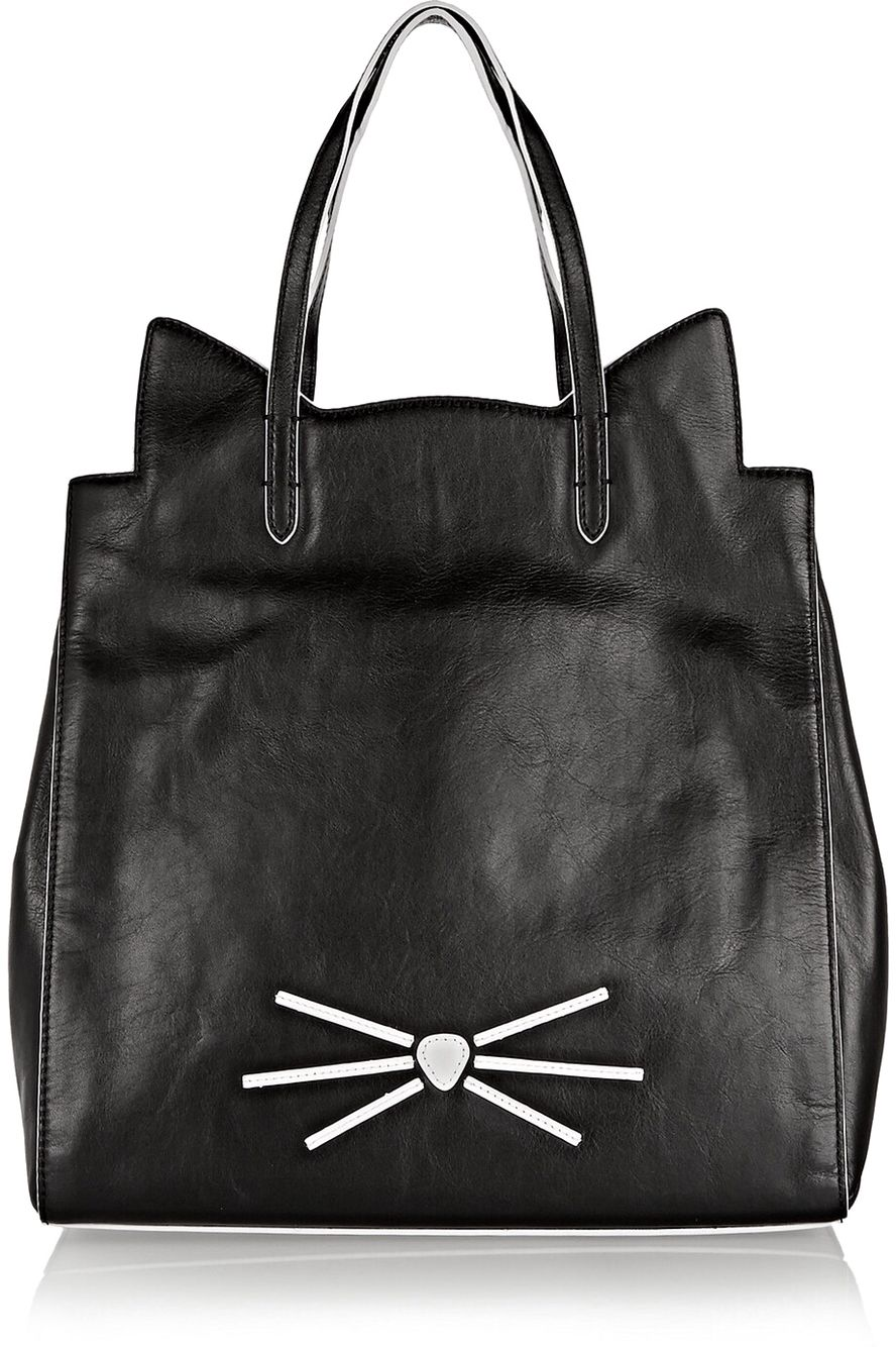 Cat Tote in Black Leather