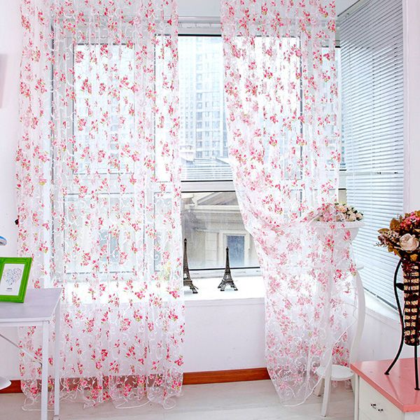Floral Pattern Room Window Voile Curtain Sheer Voile Panel Drapes     Floral Pattern Room Window Voile Curtain Sheer Voile Panel Drapes Scarf  Valances