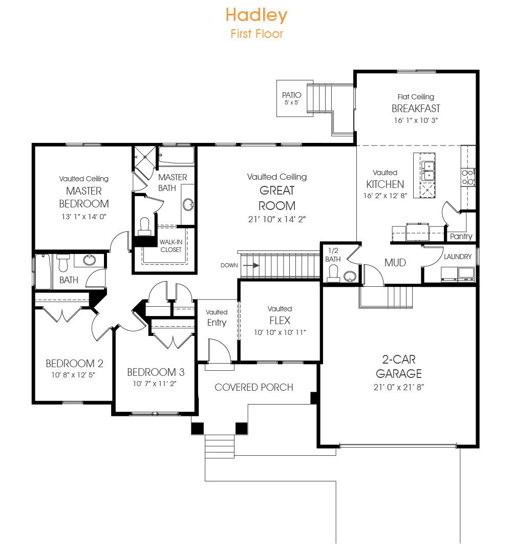 3 Bedroom Rambler Floor Plan For Your New Utah Home The Hadley Is Just What You Are Looking For In A Rambler Rambler House Plans Best House Plans House Plans