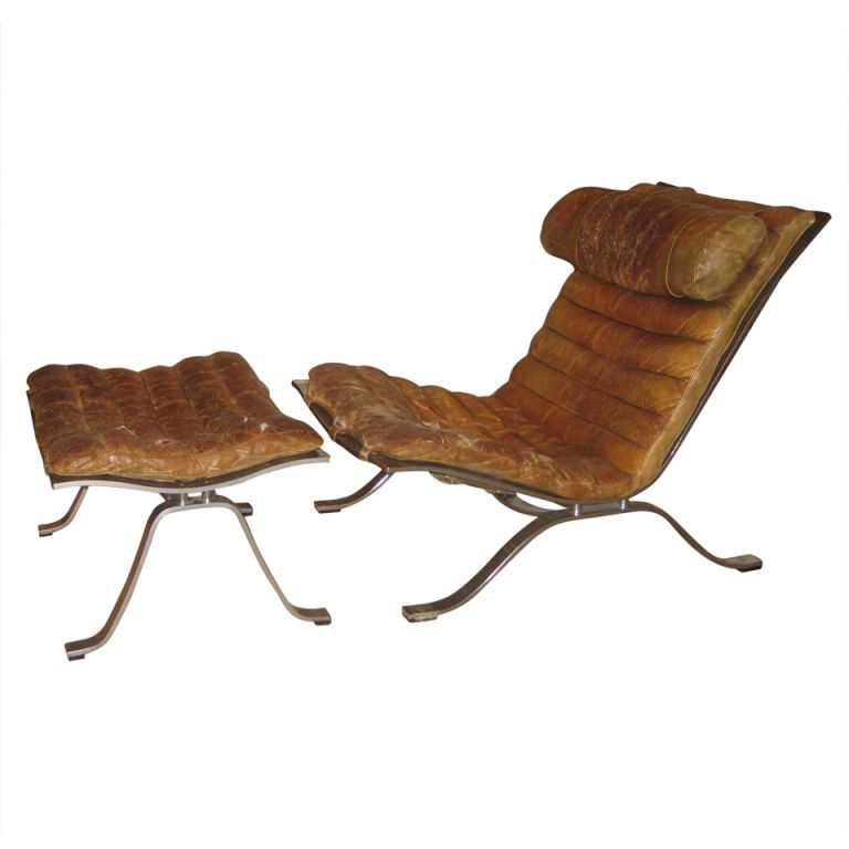 1960u0027s Swedish Arne Norell Original Buffalo Leather Chair And Ottoman |  From A Unique Collection Of