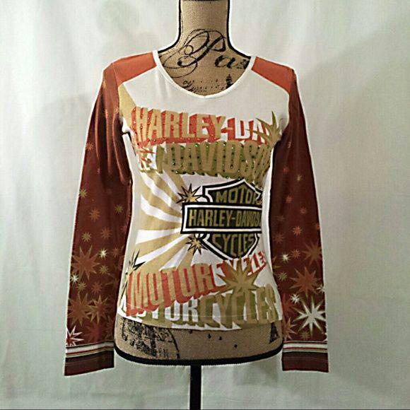 Harley Davidson long sleeve bling Harley Davidson long sleeve bling shirt EUC Harley Davidson Tops