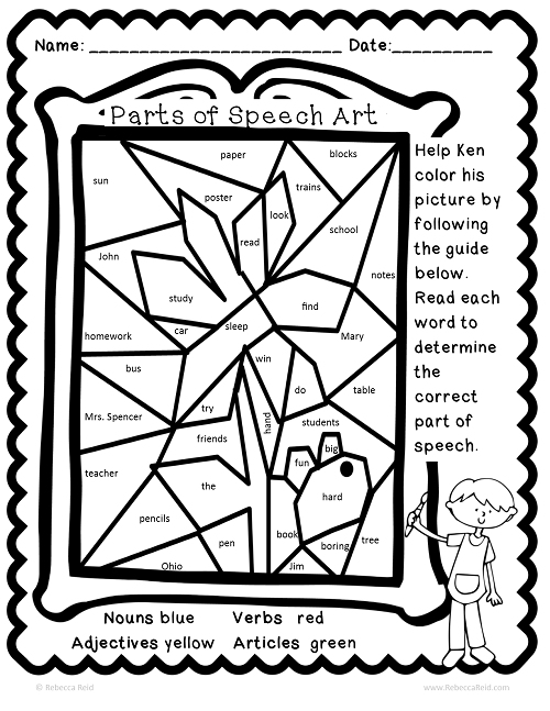 Parts of Speech Art ColorbyCode Teaching grammar