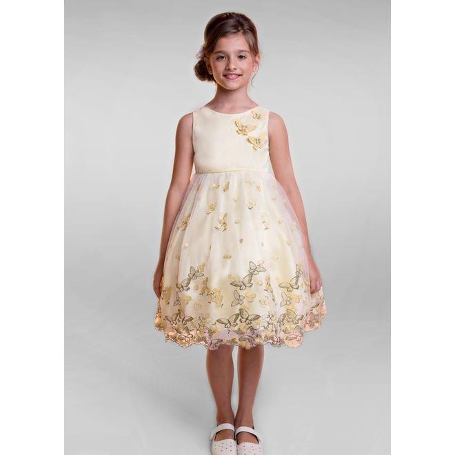 f424de4f6d Kid s Dream Kid s Dream Soft Yellow Butterfly Embroidered Girls Organza  Dress 2T-14
