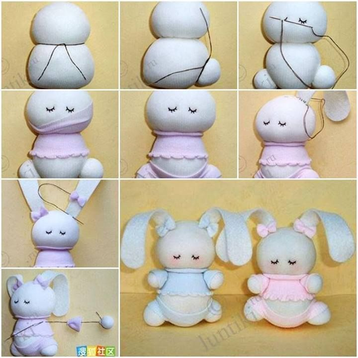 craft ideas step by step instructions how to make adorable sock bunny step by step diy tutorial 7614