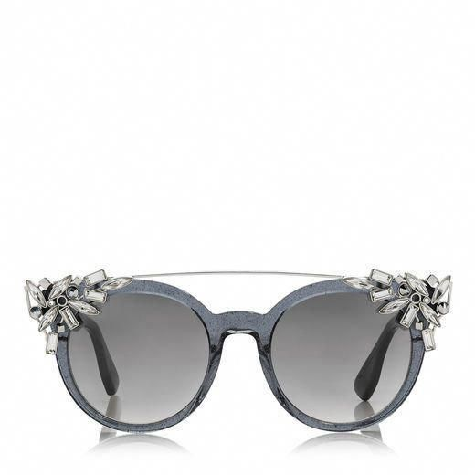 c3485082dc20d JIMMY CHOO VIVY 20TH Grey Round Framed Sunglasses with Detachable Jewel Clip  On.  jimmychoo  a