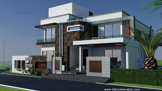 Merveilleux 1 Kanal Modern House Plan  3d Front Elevation  Design  479 Tulip