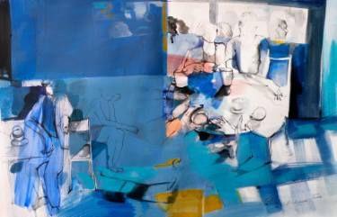 "Saatchi Art Artist Golnaz AFRAZ; Painting, ""Blue afternoon "" #art"