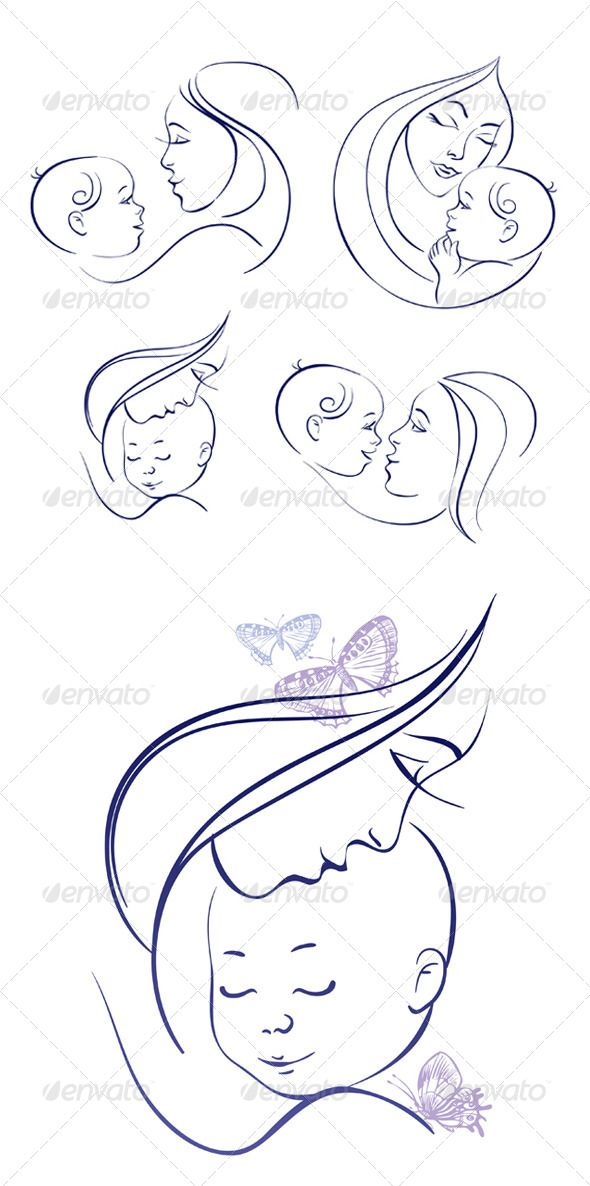 Mother and Baby Icon Set - People Characters | kamla | Baby