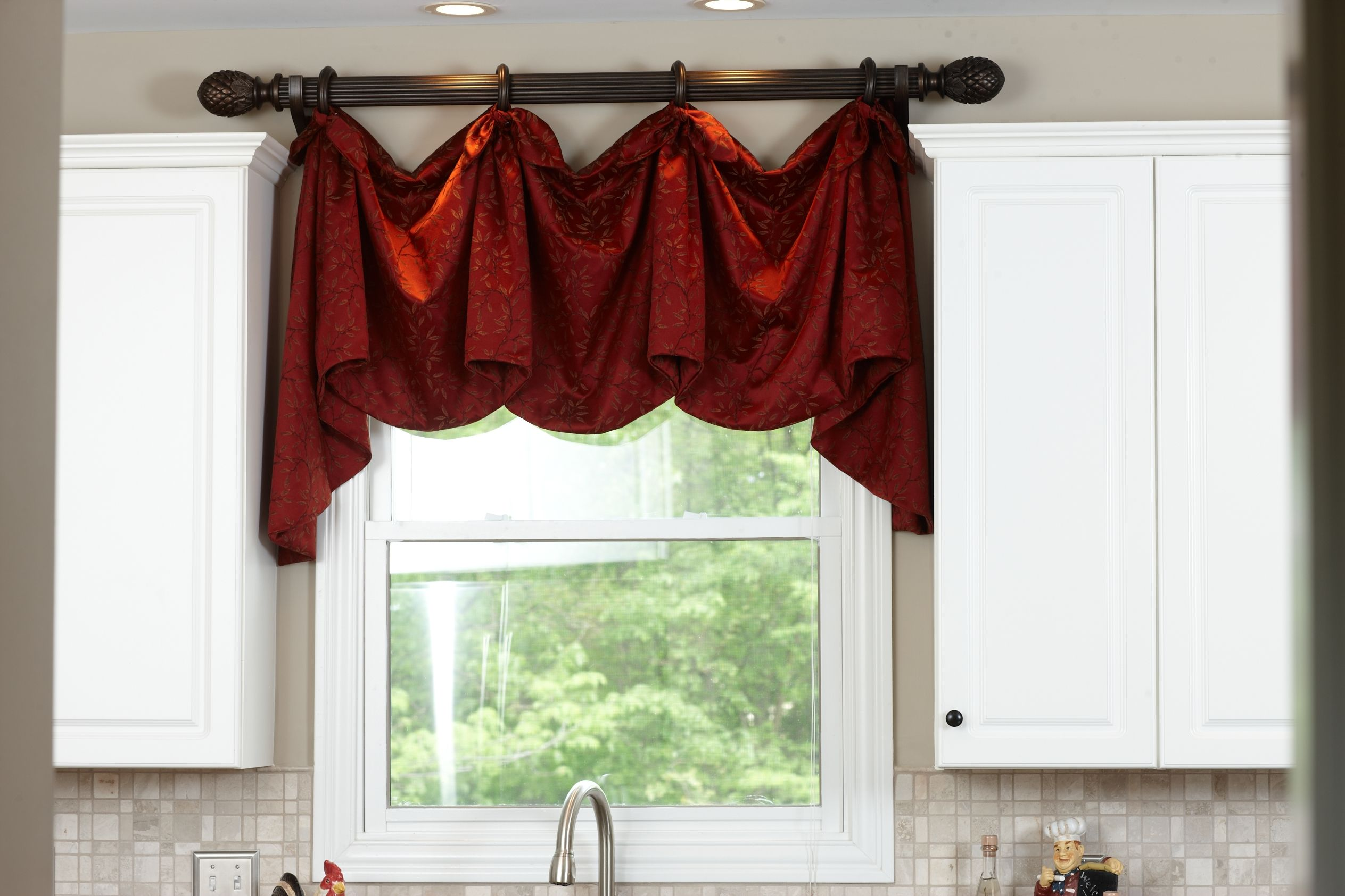Kitchen window treatments above the sink decorative rod valance