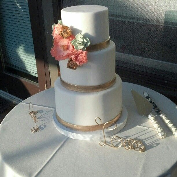 White Fondant With Gold Accents And Coral Peach And Mint