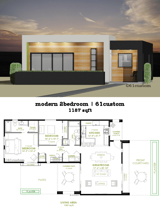 This modern house plan offers two bedrooms, two bathrooms, a ...