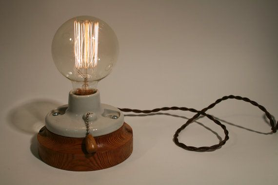 Porcelain Pullchain Bare Bulb Table Top Lamp By Portmanworkshop 135 00 With Images Table Top Lamps Bulb Table Top