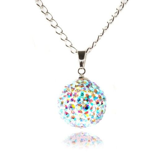 Fizzball Collection Crystal Ball Necklace Rainbow - 4EverBling