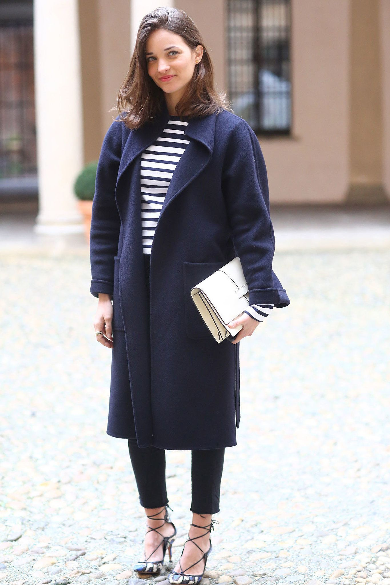 Maria Duenas Jacobs in classic stripes #MFW #Streetstyle