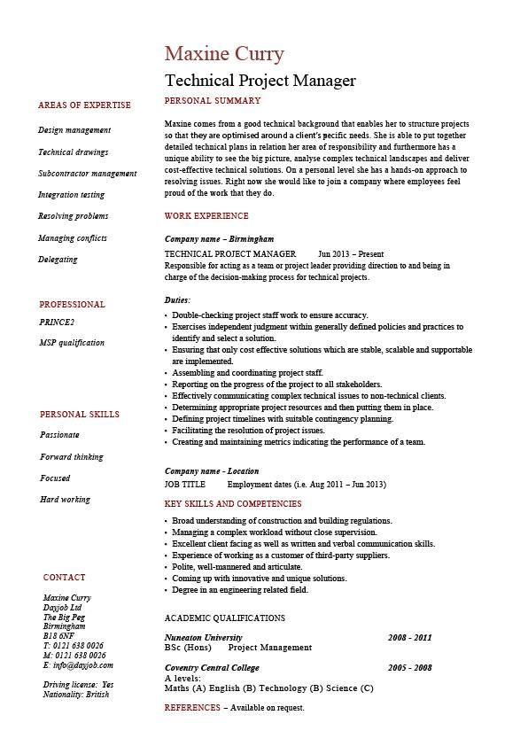 Technical project manager resume, example, job description, skill