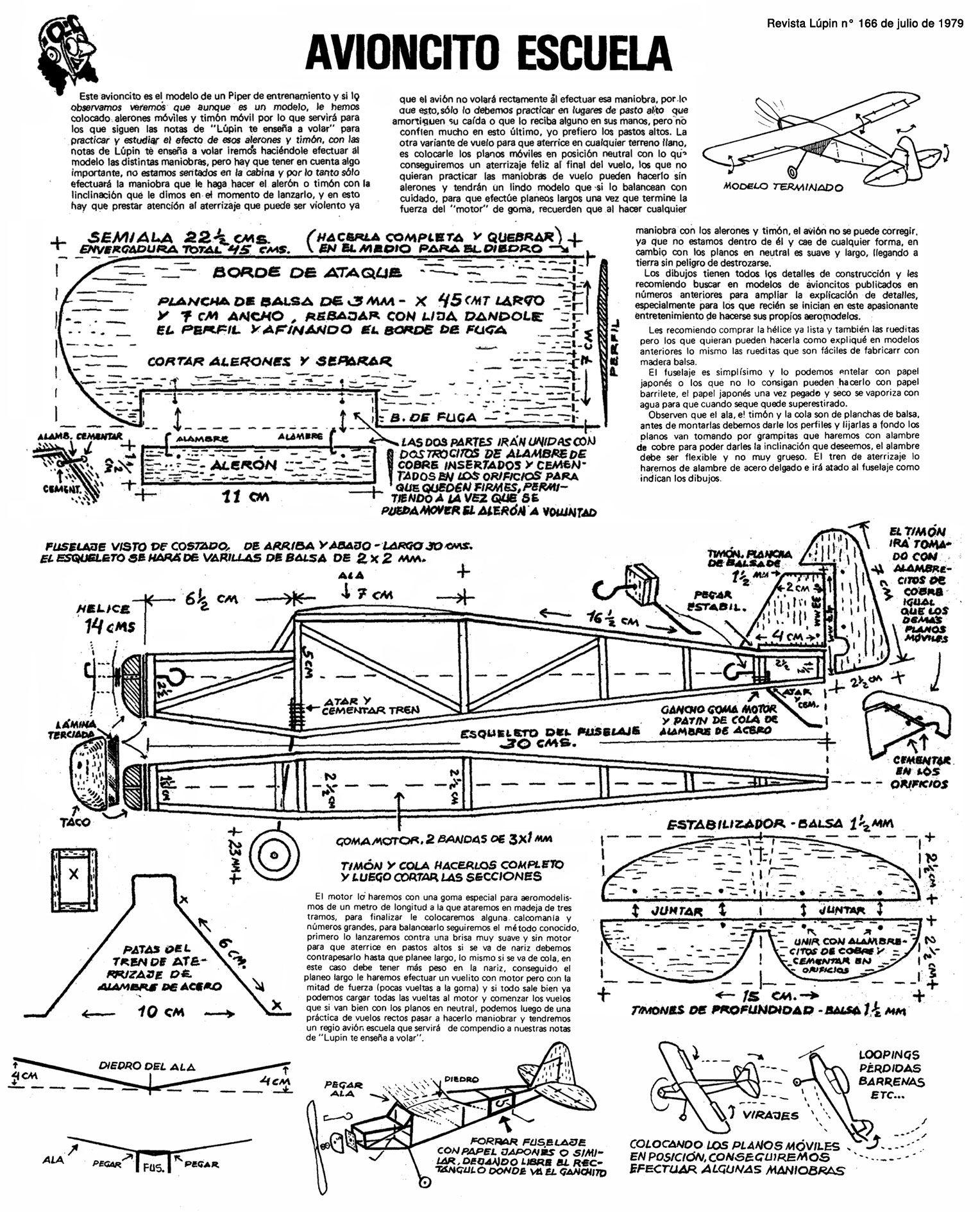 Planitos De L U00fapin  Avioncito Escuela Motor A Goma
