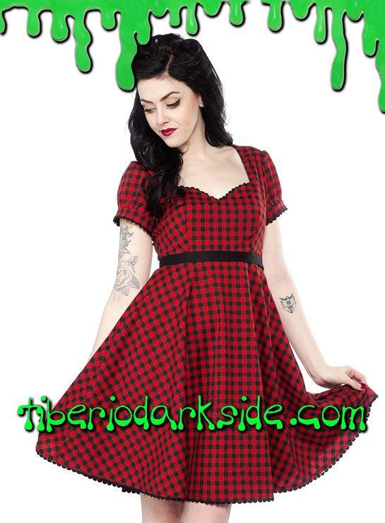 5f282d8b90 Vestido pin up de cuadros vichy rojo con mangas globo
