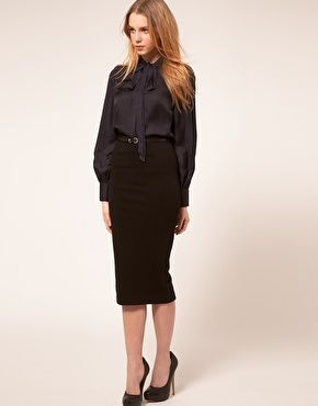 ASOS High Waist Bodycon Belted Pencil Skirt