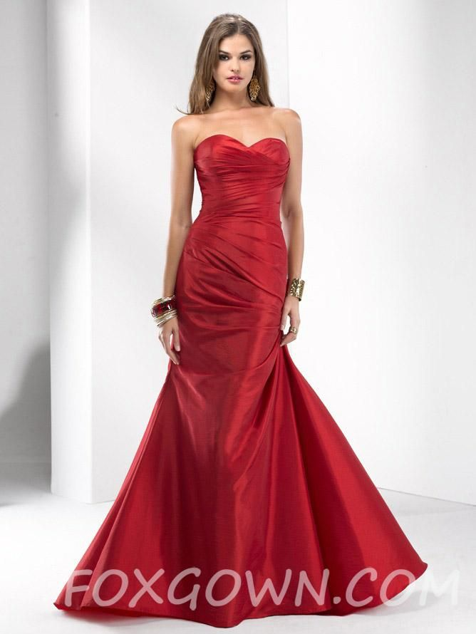 red taffeta perfect a-line sweetheart long evening gown | Wedding ...