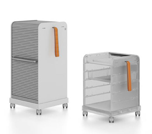 Follow Me 1 and 2 are mobile pedestals, easy transportable with an easy-to-hold handle and wheels with casters to lock them in place.  http://vurni.com/home-office-furniture-for-small-spaces/