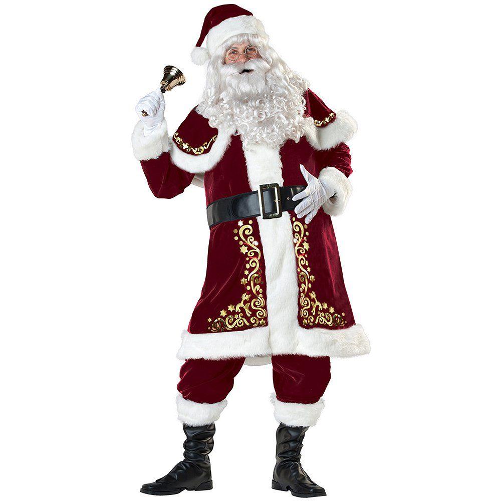 Peluca Barba Para Hombre Papá Noel Disfraz Adultos Traje De Santa Disfraz Navidad