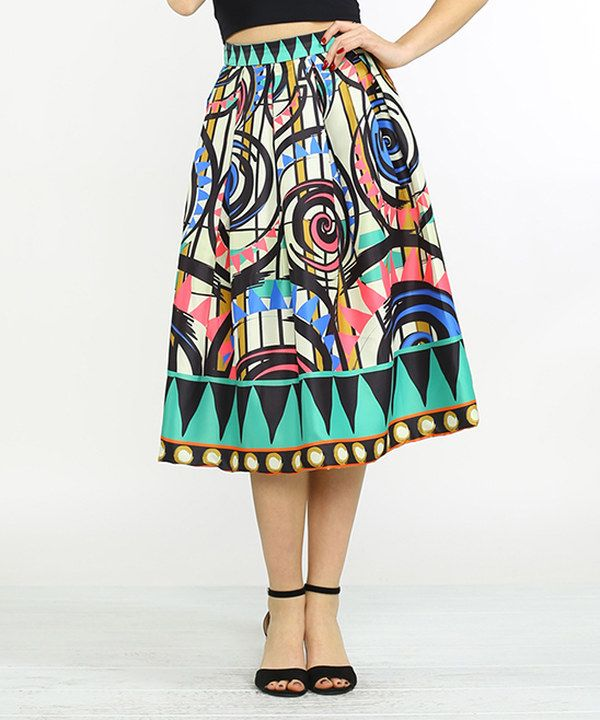 Look at this Ivory & Green Abstract A-Line Skirt on #zulily today!