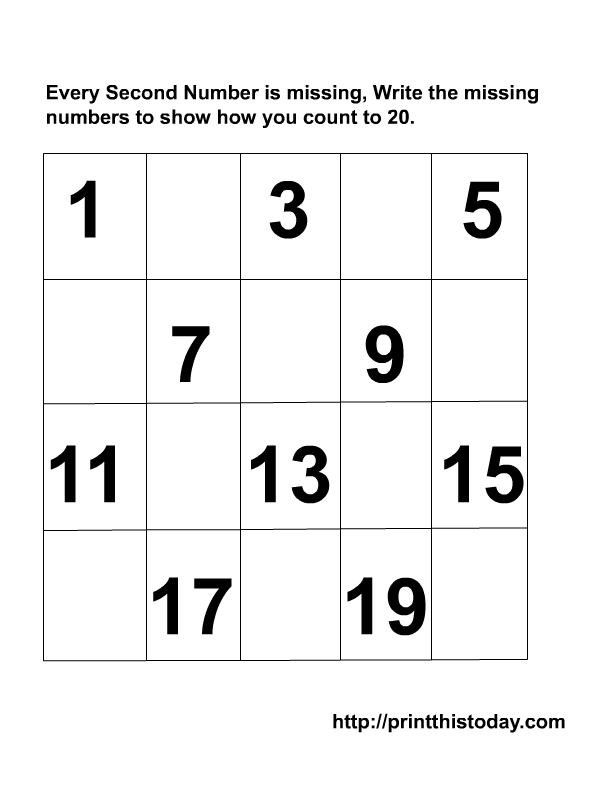 kindergarten missing numbers to 20 | Writing the Missing Numbers ...