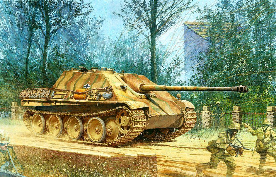 Rysunek, nassau, yagdpantera, jagdpanther, Wehrmachtu, Niemców, drugi świat wektor