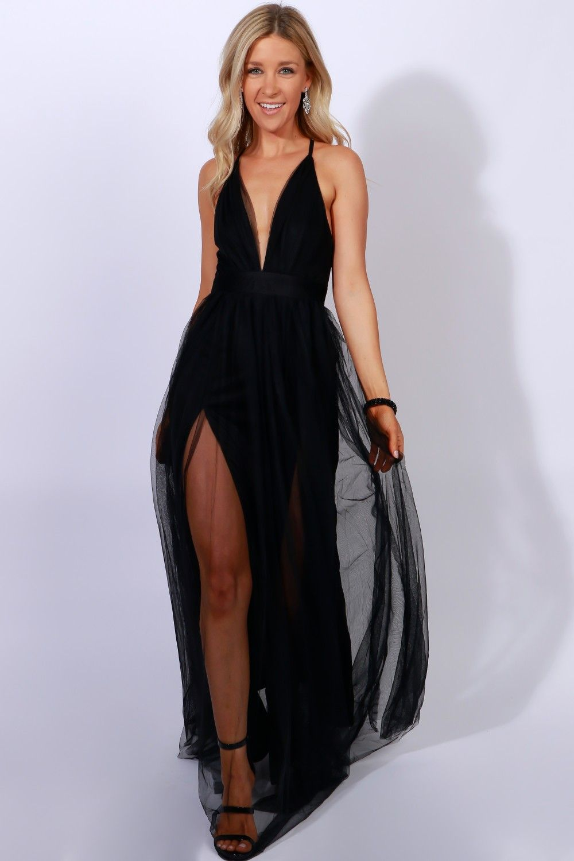 Sheer Mesh Maxi Dress Black A Maxi Dress With A Sheer Mesh Overlay Featuring Adjustable Straps A Deep V Shaped Nec Mesh Maxi Dress Black Maxi Dress Maxi Dress [ 1500 x 1000 Pixel ]