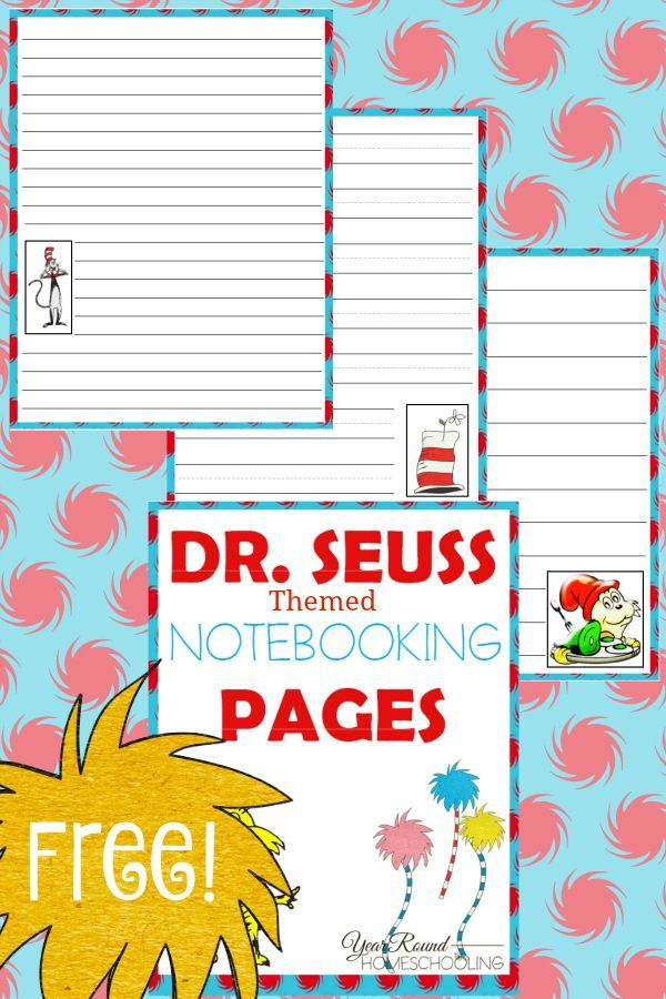 Free Dr. Seuss Notebooking Pages (PreK - Middle School | Homeschool ...