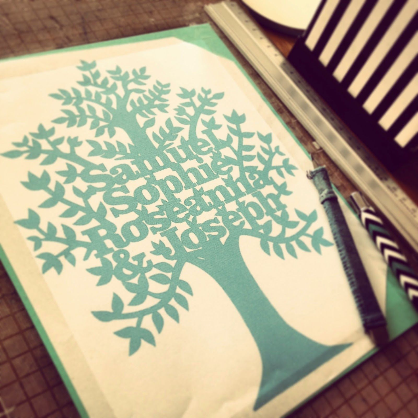 Family Tree Papercut Template Mounted And Ready To Cut Paper