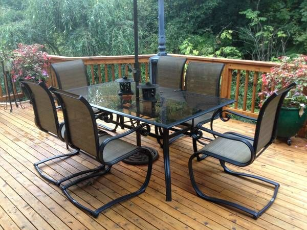 Glass Top Patio Table With 6 Chairs 125 Auburn Image 1 Condition Good Size Dimensions 40x72 Nice Metal Frame Chair Outdoor Furniture Sets Patio Table