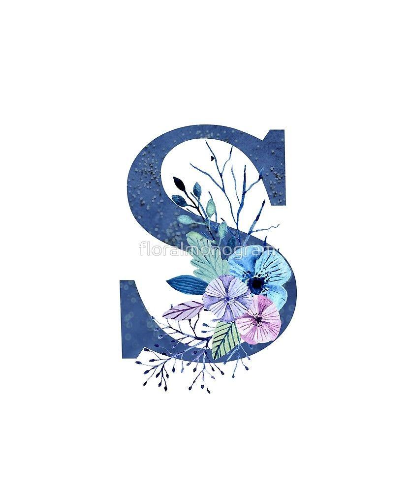 Monogram S Icy Winter Bouquet Sticker By Floralmonogram Lukisan Huruf Inisial Ilustrasi Karakter