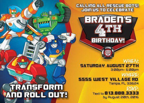 Rescue Bots Birthday Party Invitation Digital