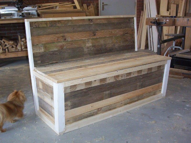 Sloophouten bank met opbergruimte   Op maat gemaakt   Payebelwood   Interieur idee u00ebn   Pinterest