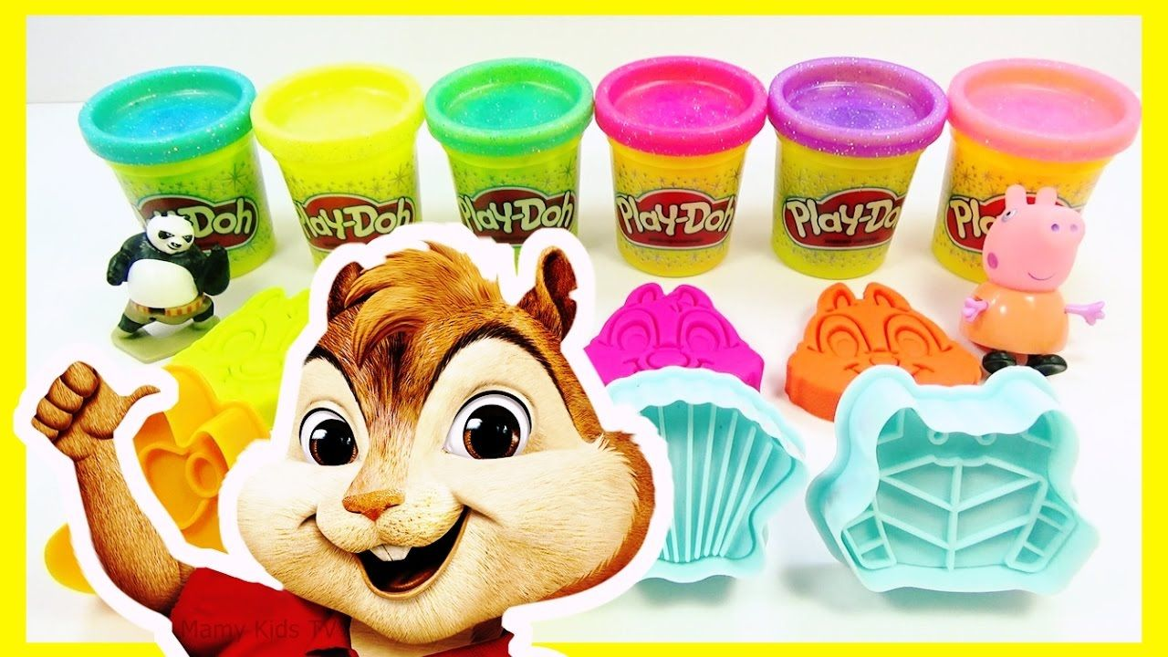 Learn Colors Play Doh Fun Rainbow Chipmunks Compilation Nursery Rhymes -...