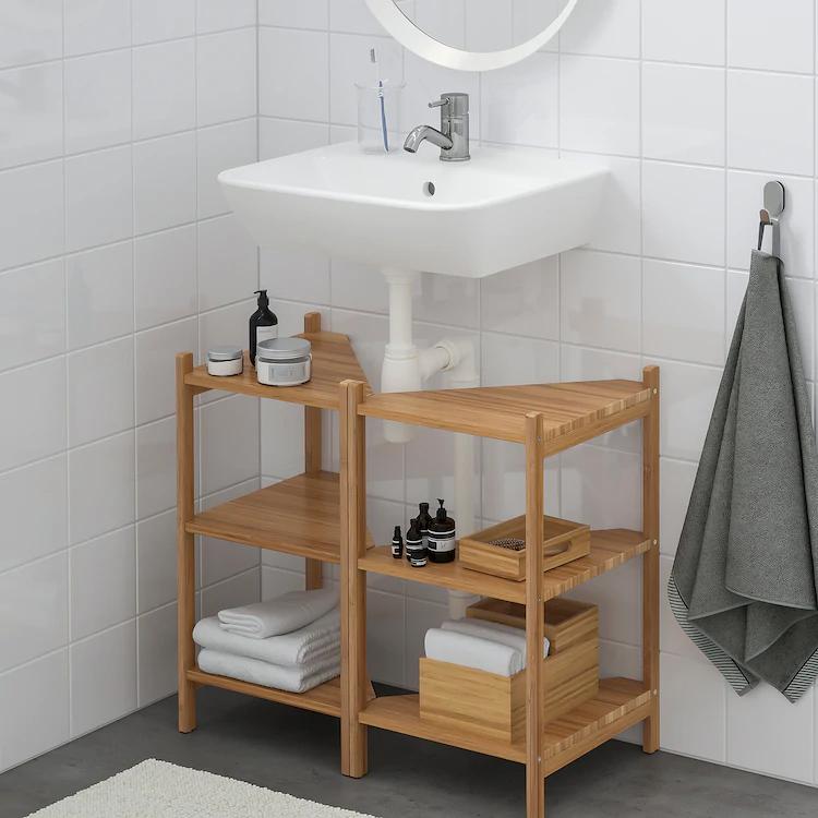 Rågrund Tyngen Sink Shelf Corner Shelf Bamboo Pilkån Faucet Ikea In 2021 Bathroom Sink Storage Sink Shelf Under Bathroom Sink Storage