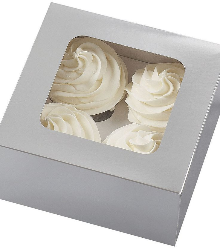 Cupcake box silver in 2020 with images cupcake boxes
