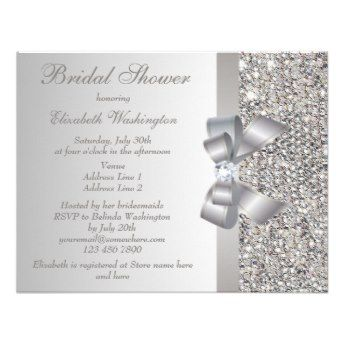 Printed silver sequins bow diamond bridal shower invite elegant printed silver sequins bow diamond bridal shower invite elegant custom silver bridal shower invitations filmwisefo