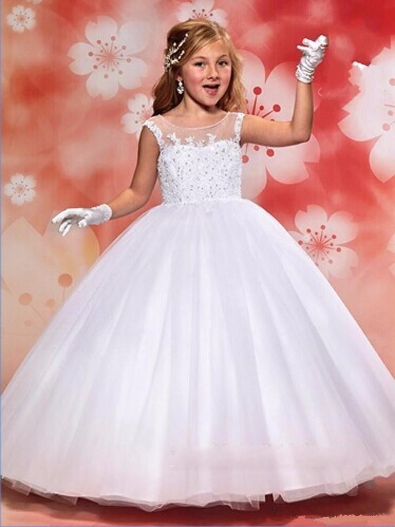 Little girl dresses for weddings  Flower Girl Dresses Hole Ball Gown White Lace Sleeveless O Neck Long