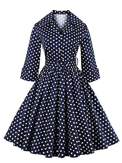 MicBridal® 1955er Vintage Herbst Polka Dots Kurz Kleid mit Ärmeln Retro  Schwingen Pinup Rockabilly Kleid Abendkleider Blau 3XL