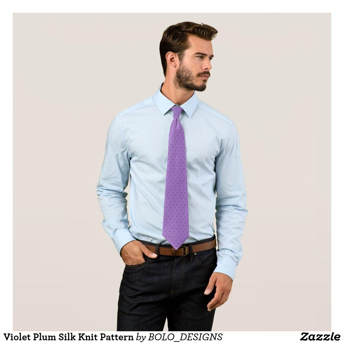 fe0345ac7abe8 Violet Plum Silk Knit Pattern Tie