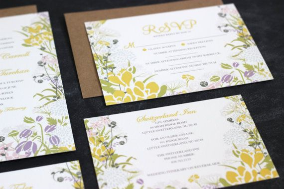 Wildflower Wedding Invites and Stationery #weddinginvitations