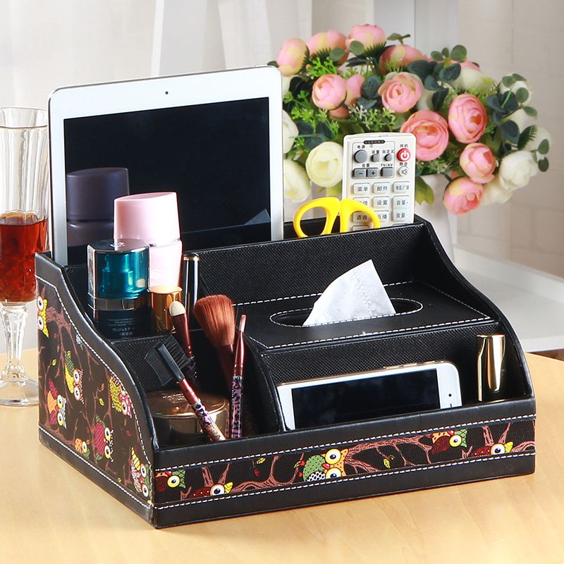 Leather multifunctional drawer desktop storage box coffee