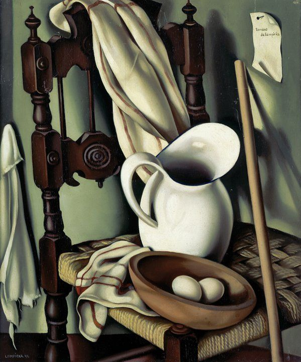 Tamara De Lempicka  I really like this still life and I've seen hundreds of them. This one is a bit, quite a bit different!